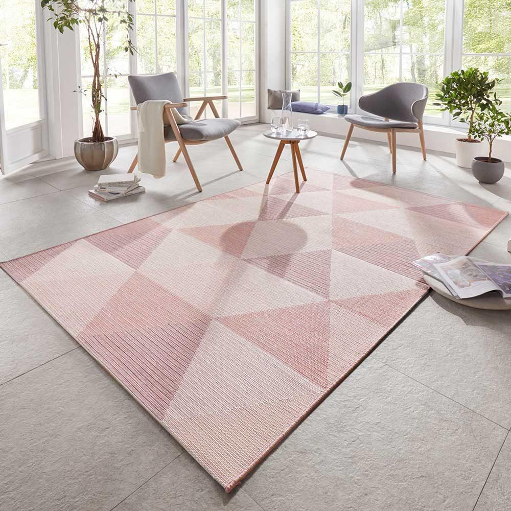 elle outdoor teppich dreieck rosa 1
