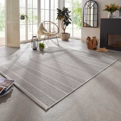 elle outdoor teppich handmade streifen grau 1