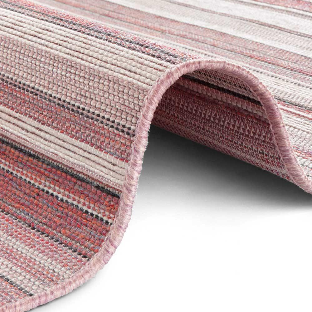 elle outdoor teppich rosa streifen creme rot 4