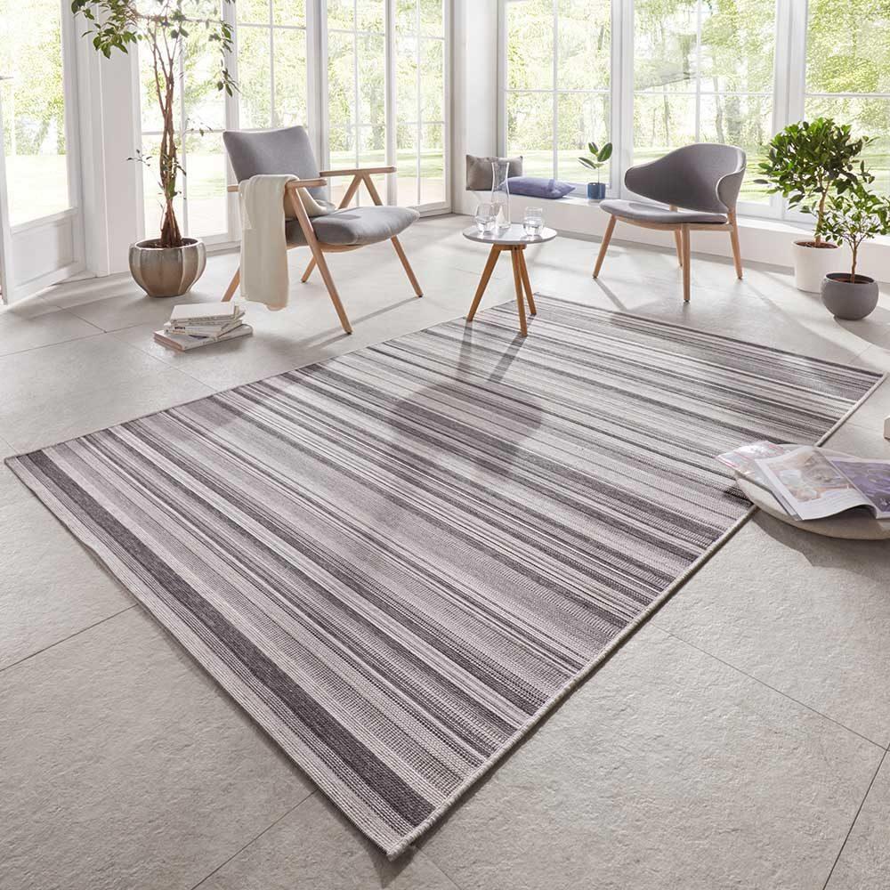 elle outdoor teppich streifen grau anthranzit 1