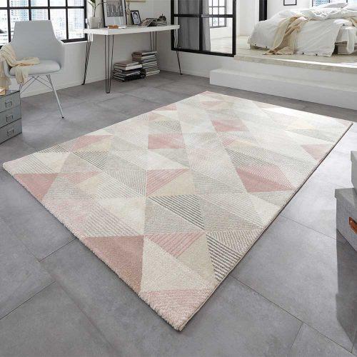teppich rosa grau