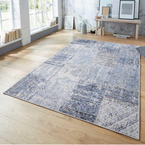 elle teppich patchwork jeansblau schwarz 1