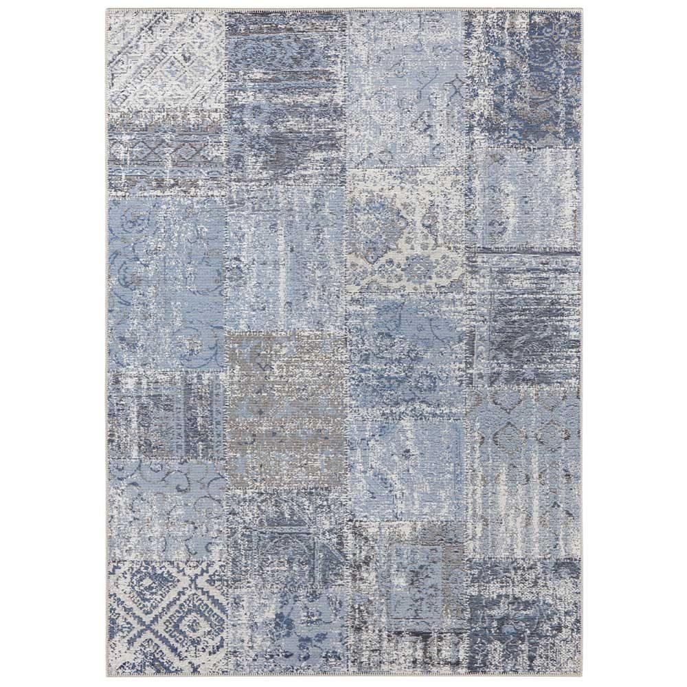 elle teppich patchwork jeansblau schwarz 2